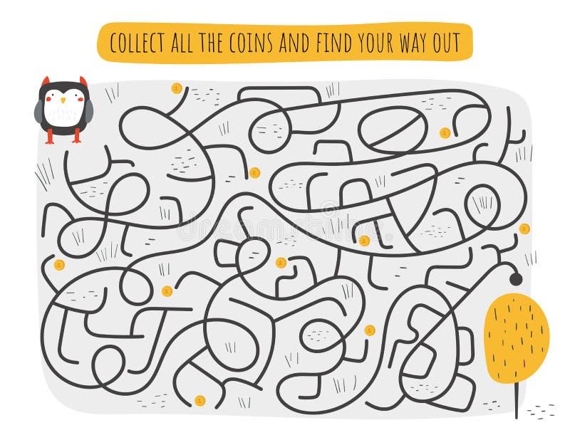 Gullig rebus, prov, aktivitet, logiks?kande f?r ungar Rolig labyrint, pussel med ugglan, tr royaltyfri illustrationer