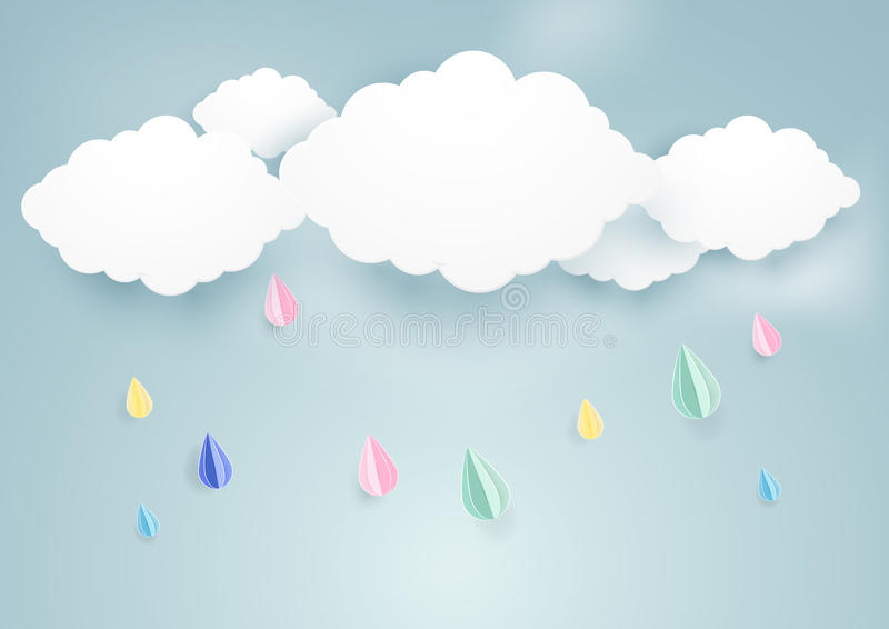 Gullig regnig nedgång- och molnbakgrund pappers- konststil stock illustrationer