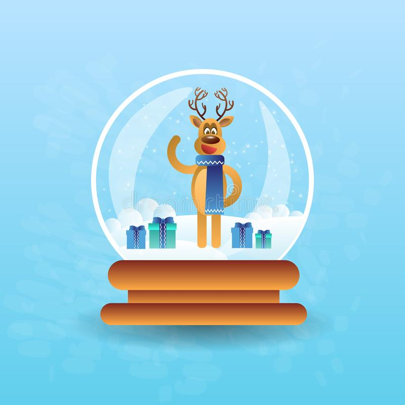 Gullig ren i magisk boll för jul vektor illustrationer