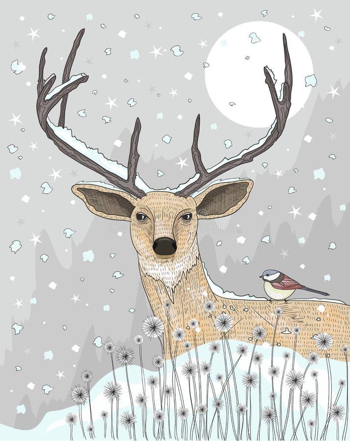 Gullig ren och fågel c royaltyfri illustrationer