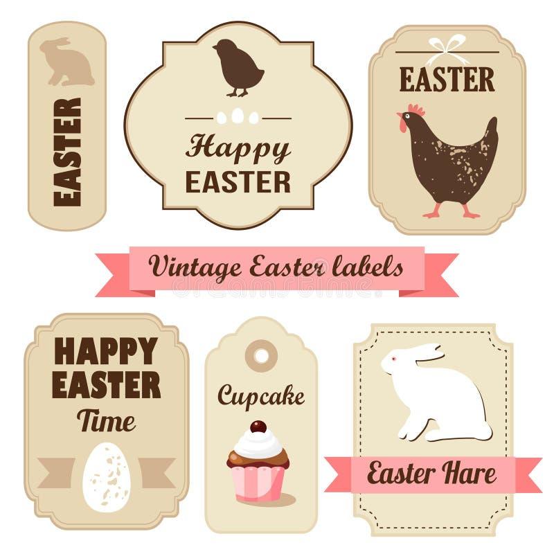 Gullig retro easter uppsättning av etiketter med ägg, höna, kaninen, band och andra beståndsdelar, illustration vektor illustrationer