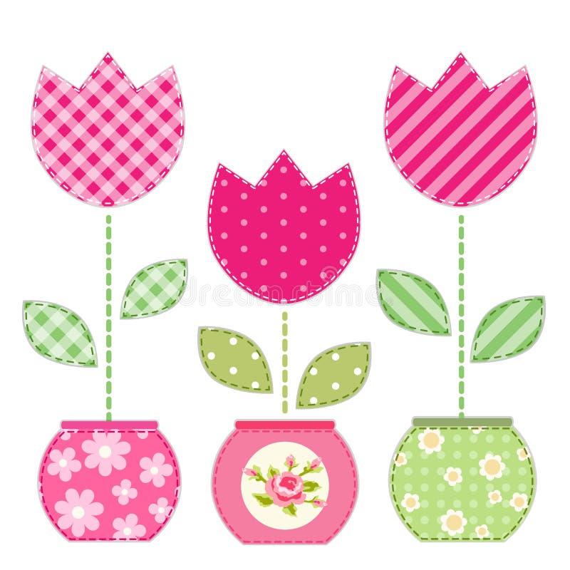 Gullig retro vår och trädgårds- beståndsdelar som tyglappapplique av blommor i krukor vektor illustrationer