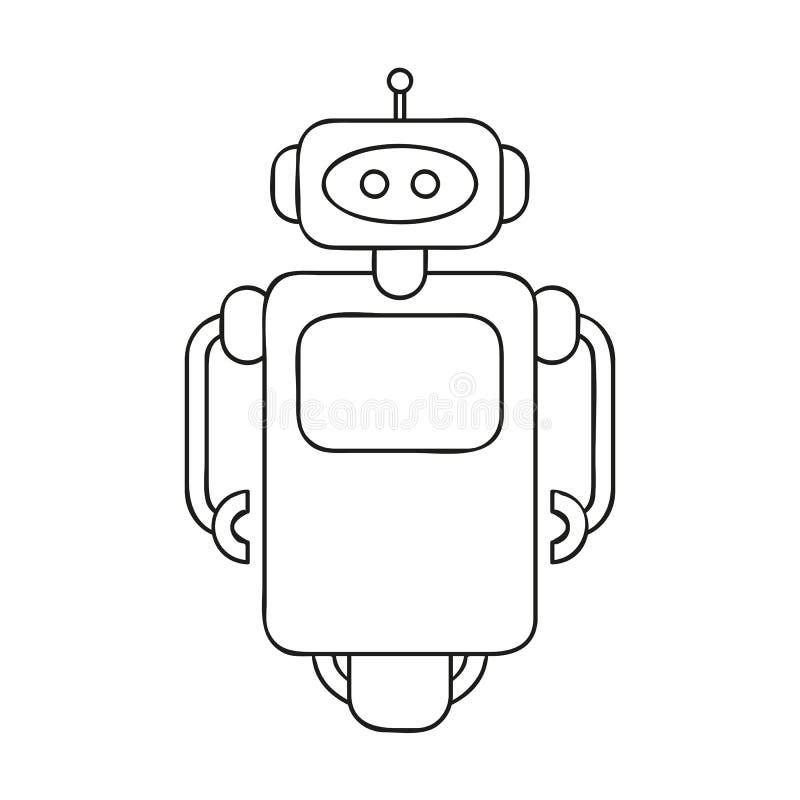 Gullig robotöversiktsteckning för färgläggningbok royaltyfri illustrationer