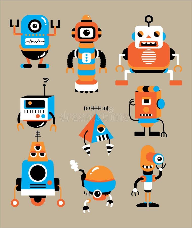 gullig robot för tecknad film stock illustrationer