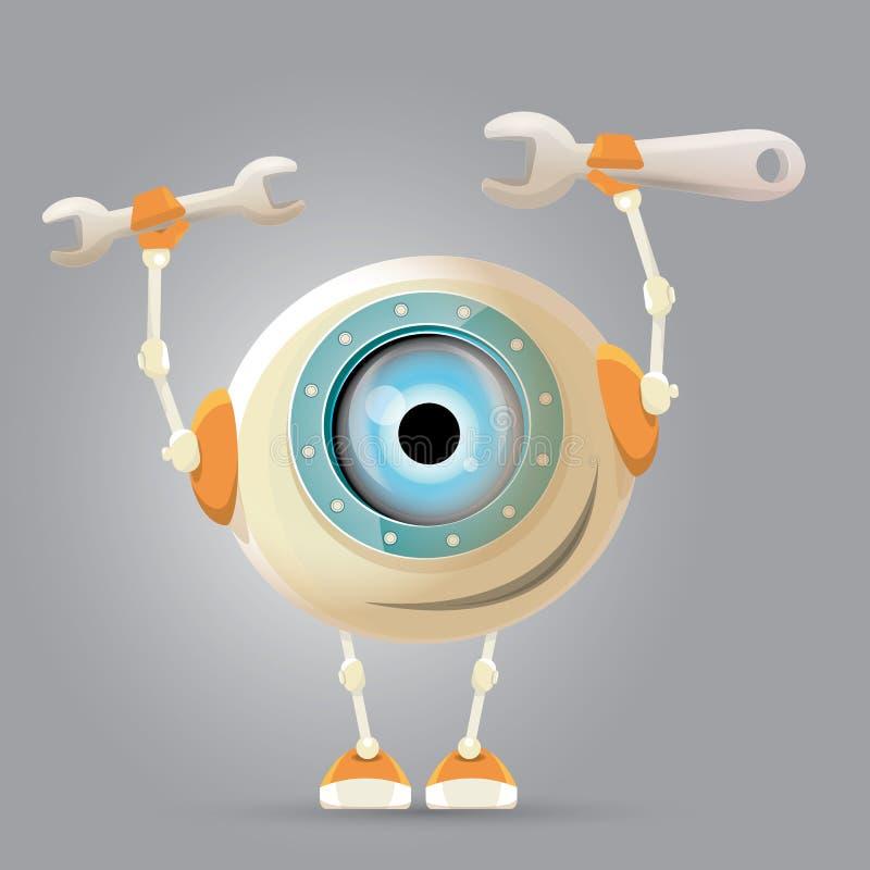 Gullig robot för tecknad filmtecken vektor illustrationer