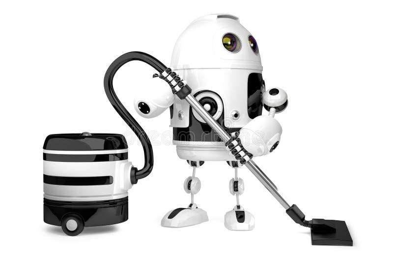 Gullig robot med dammsugare isolerat illustration 3d royaltyfri illustrationer