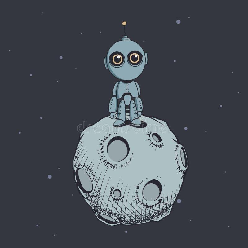 Gullig robot på månen royaltyfri illustrationer