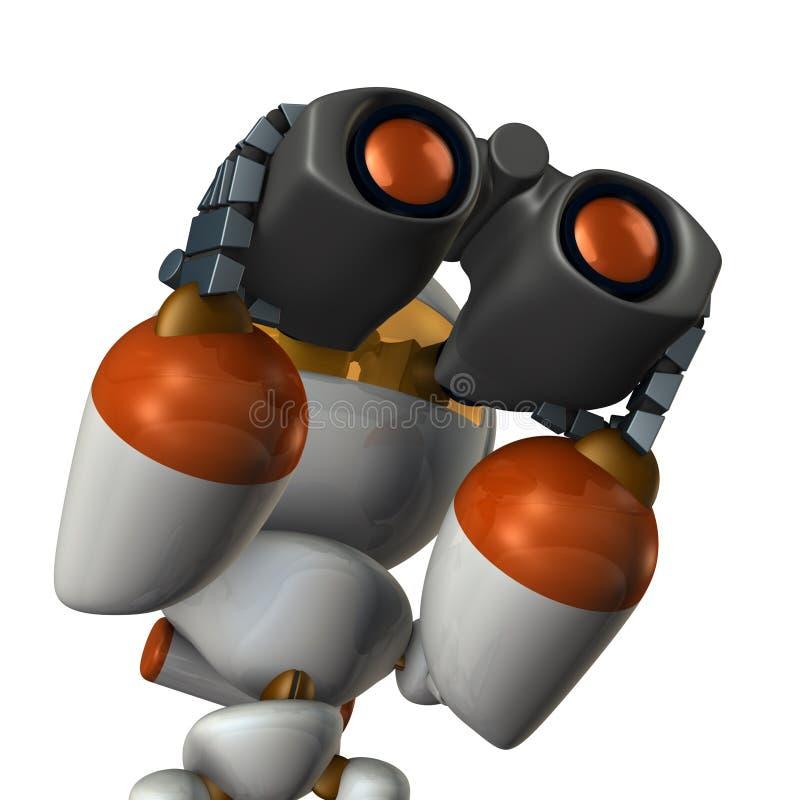 Gullig robot, som förbiser framtiden genom att använda kikaren vektor illustrationer