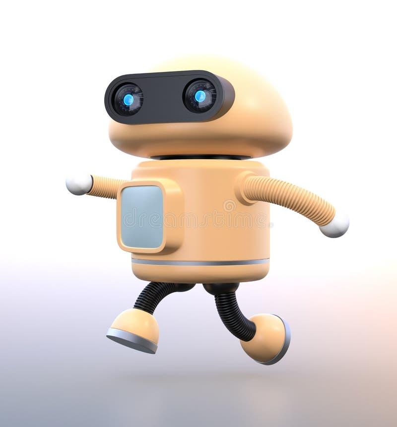 Gullig robot som kör i brådska på lutningbakgrund stock illustrationer