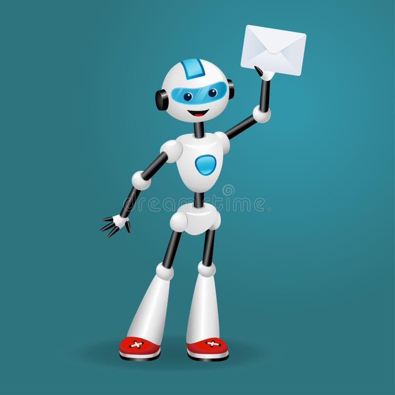 Gullig robot som rymmer ett kuvert på blå bakgrund stock illustrationer