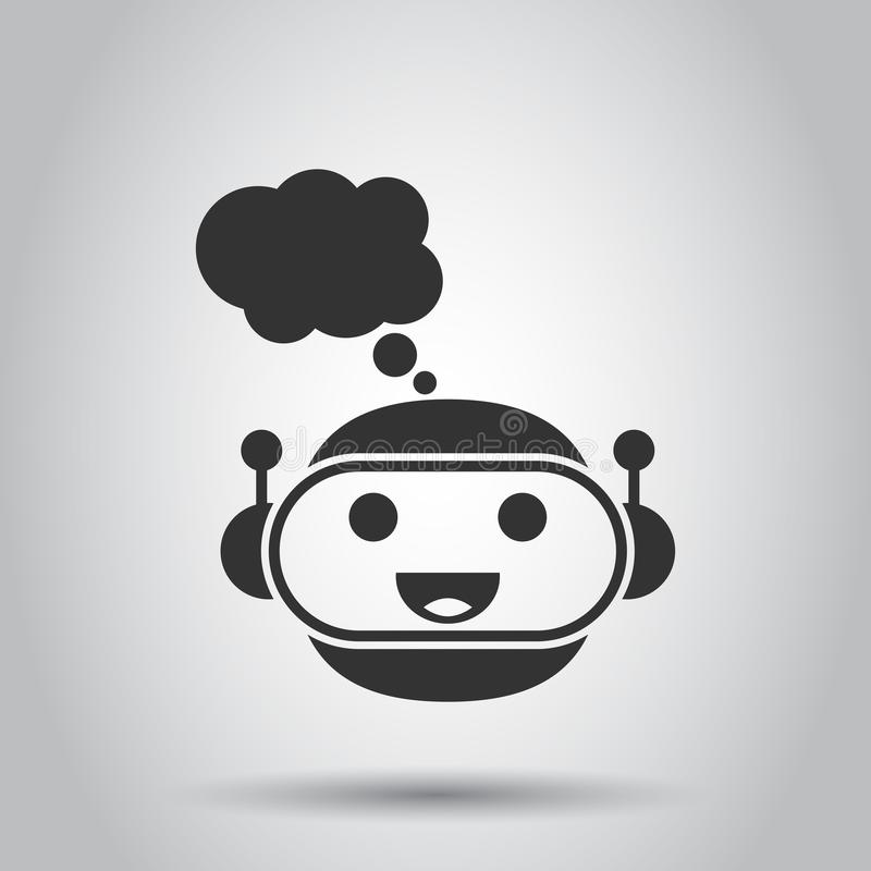 Gullig robotchatbotsymbol i plan stil Illustration för Botoperatörsvektor på vit bakgrund Smart chatbotteckenaffär stock illustrationer