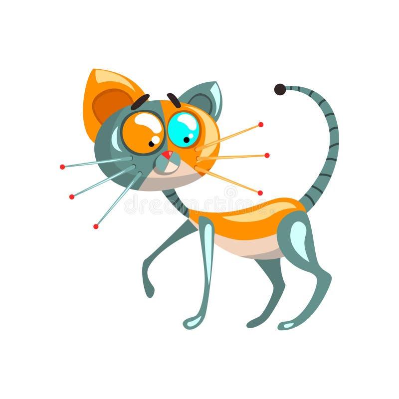 Gullig robotic katt, för begreppsvektor för konstgjord intelligens illustrationer på en vit bakgrund stock illustrationer
