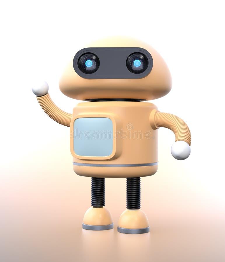 Gullig robotvåg hans hand på lutningbakgrund royaltyfri illustrationer