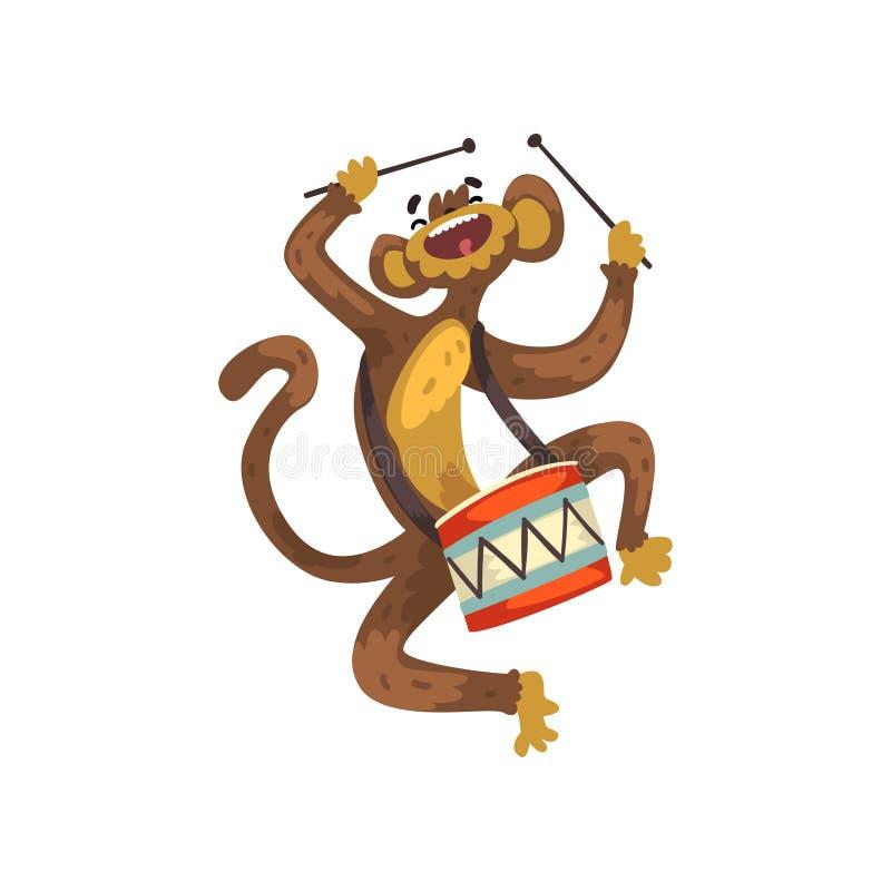 Gullig rolig apa som spelar valsen, djurt tecken för tecknad film med musikinstrumentvektorillustrationen på en vit royaltyfri illustrationer