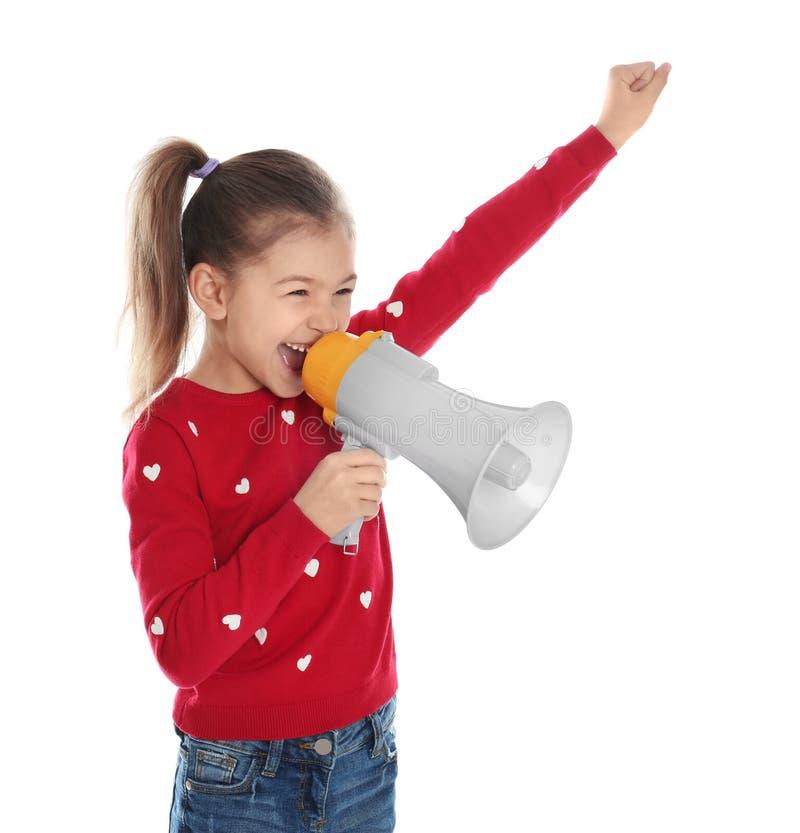 Gullig rolig flicka med megafonen royaltyfri fotografi