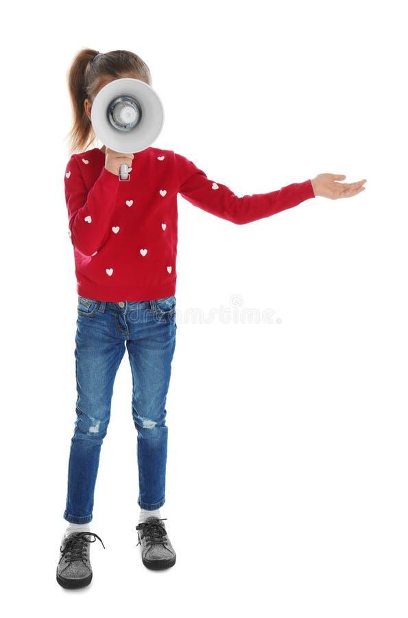 Gullig rolig flicka med megafonen arkivbilder