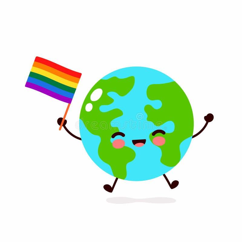 Gullig rolig le lycklig jordplanet stock illustrationer