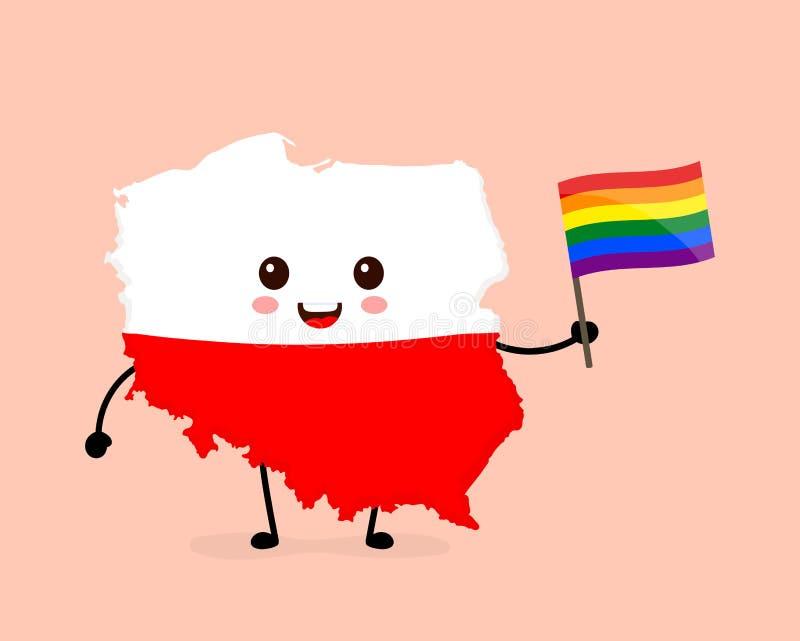 Gullig rolig le lycklig Polen översikt royaltyfri illustrationer