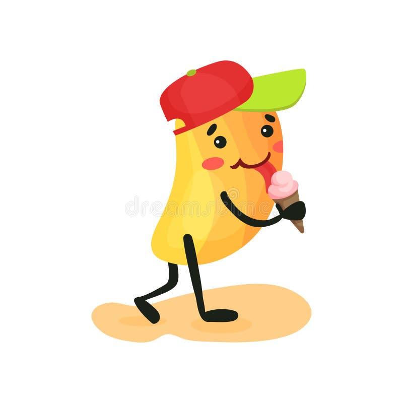 Gullig rolig mango som äter glass, tropiskt humaniserat frukttecken som spenderar tid på stranden i sommarferier vektor illustrationer