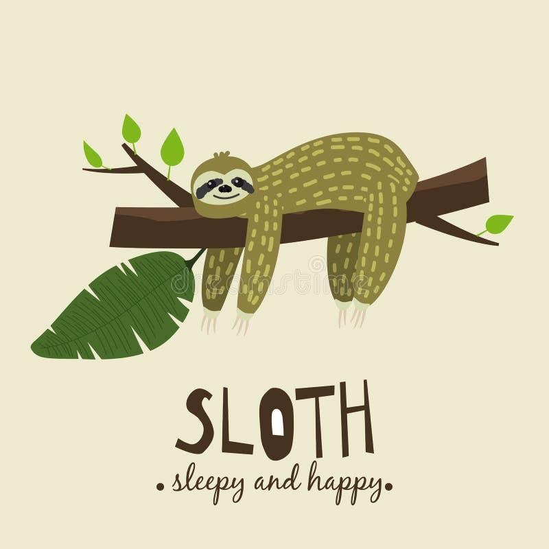 Gullig rolig sengångare som hänger på trädet Sömnigt och lyckligt Förtjusande hand dragen tecknad filmdjurillustration Gullig vek vektor illustrationer