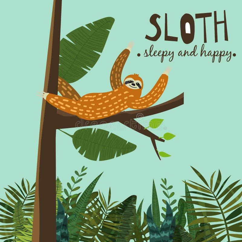 Gullig rolig sengångare som hänger på trädet Sömnigt och lyckligt Förtjusande hand dragen tecknad filmdjurillustration Gullig vek stock illustrationer