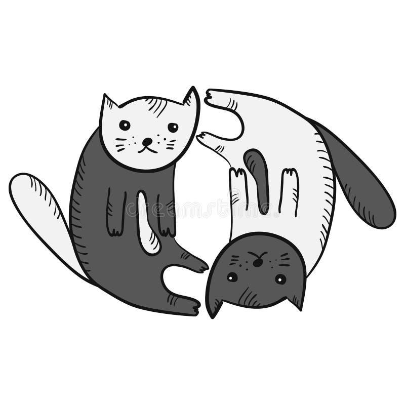 Gullig rolig tecknad filmyin och yan kattsymbol stock illustrationer