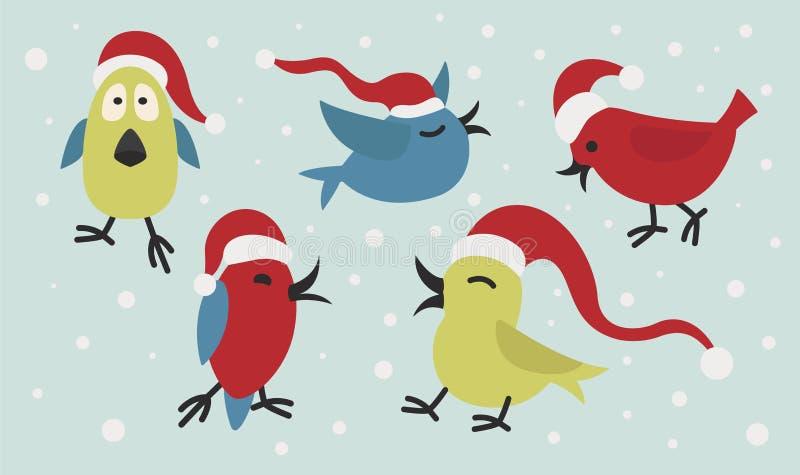 Gullig rolig uppsättning för symbol för Santa Claus fågelklistermärke Beståndsdelar för chri stock illustrationer
