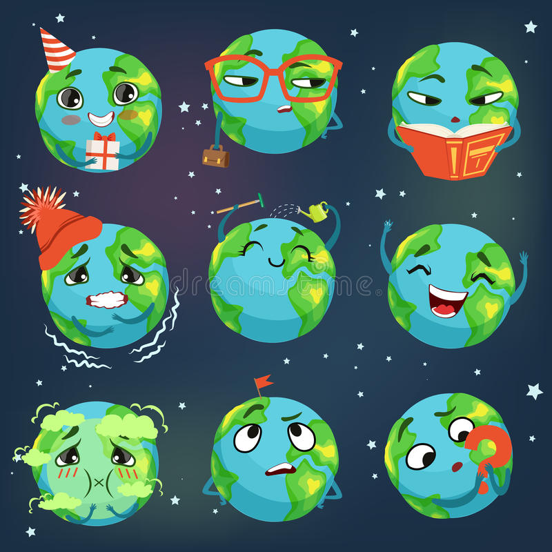 Gullig rolig världsjordemoji som visar den olika sinnesrörelseuppsättningen av färgrika teckenvektorillustrationer stock illustrationer