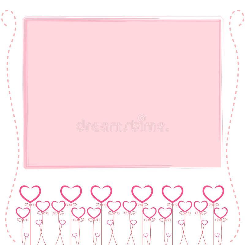 Gullig rosa bakgrund, gulligt kort av förälskelse vektor illustrationer