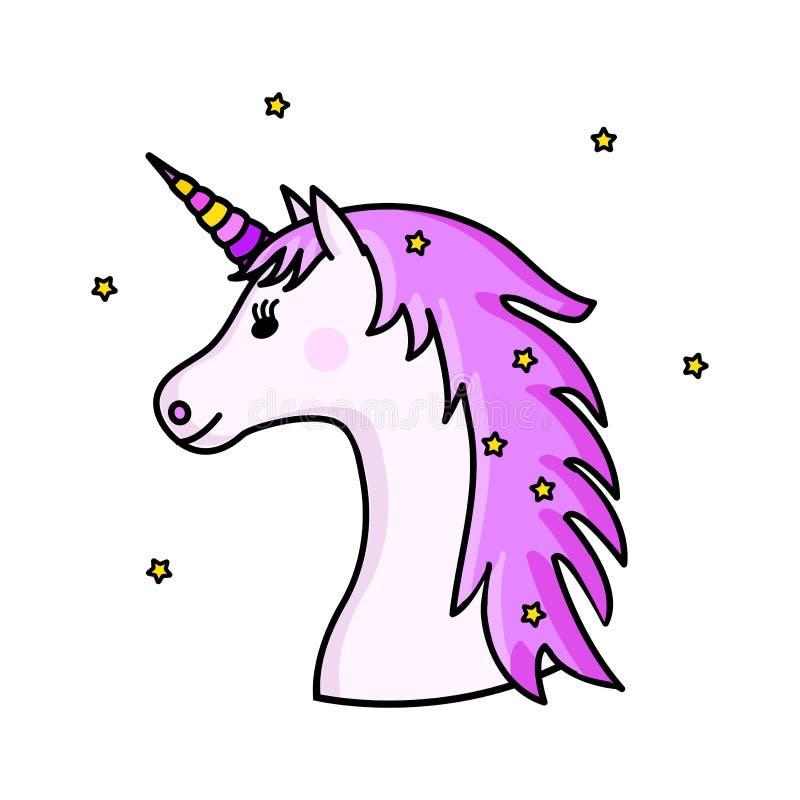 Gullig rosa enhörning också vektor för coreldrawillustration royaltyfri illustrationer