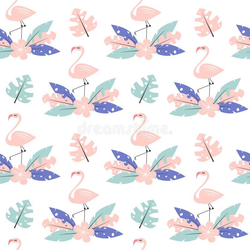Gullig rosa flamingo med exotiska tropiska sidor och för vektormodell för blomma den sömlösa illustrationen för bakgrund stock illustrationer