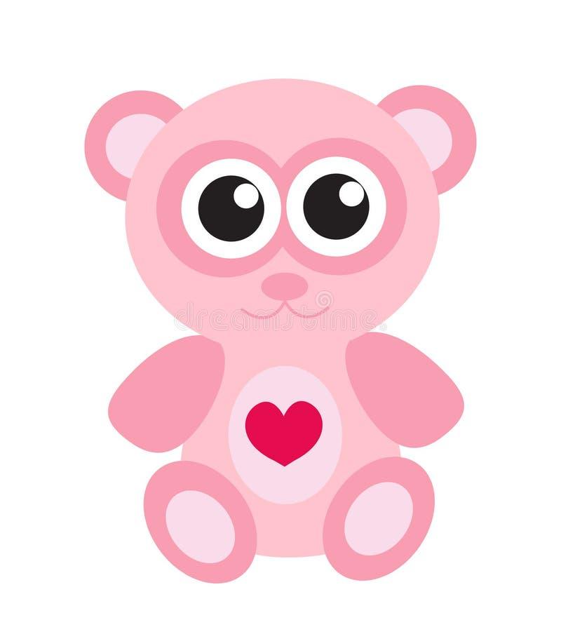 Gullig rosa symbol för nallebjörn, lägenhetdesign bakgrund isolerad white royaltyfri illustrationer