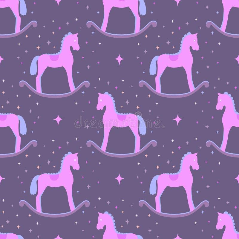 Gullig rosa vektor som vaggar hästar som isoleras på violett bakgrund Behandla som ett barn den sömlösa modellen för leksaken vektor illustrationer