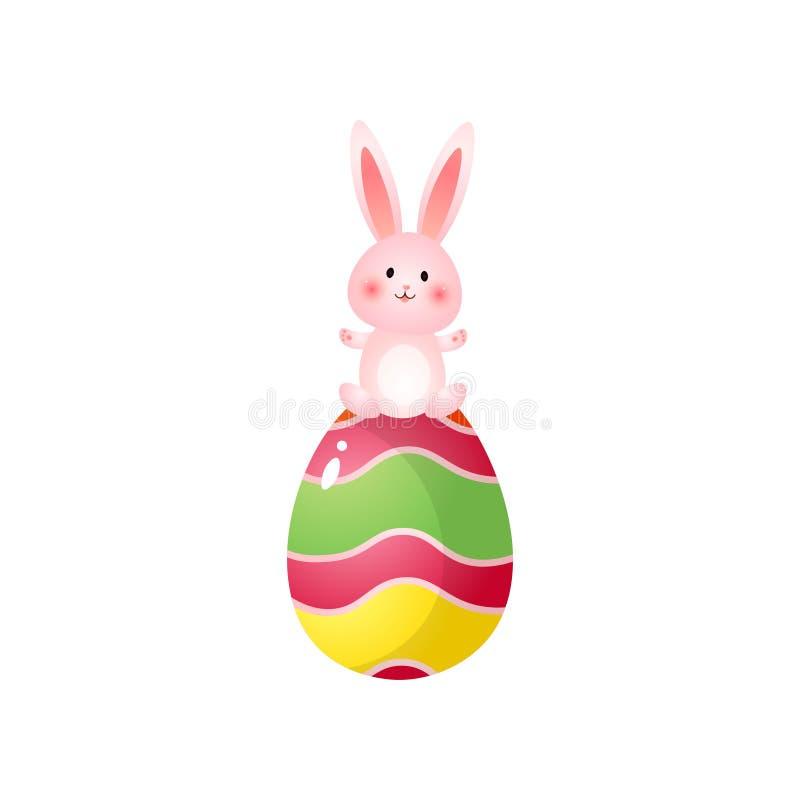 Gullig rosig easter kanin överst av det stora målade ägget som isoleras på vit bakgrund stock illustrationer