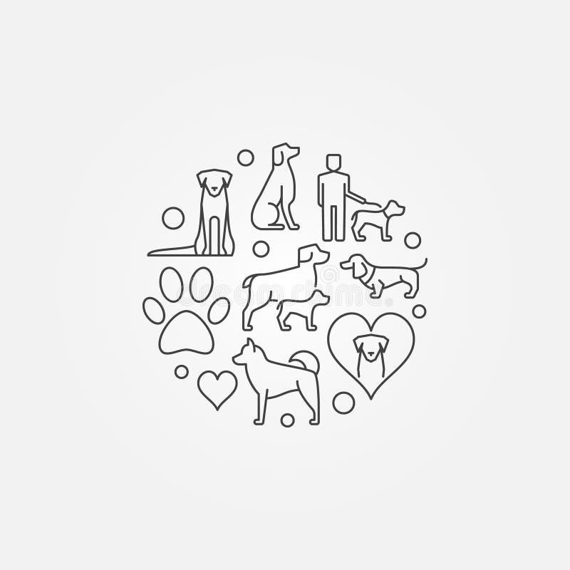 Gullig rund illustration med hundsymboler vektor illustrationer