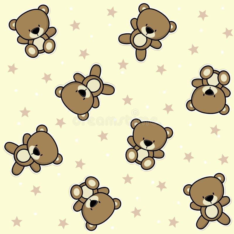 Gullig sömlös bakgrund för nallebjörn vektor illustrationer