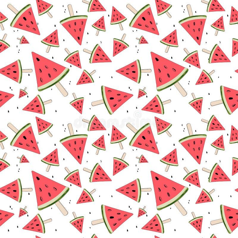 Gullig sömlös bakgrund med vattenmelonskivor Vattenmelon på en pinne unga vuxen människa vektor royaltyfri illustrationer