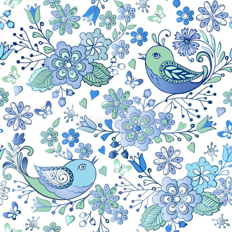 Gullig sömlös blom- modell med blåa fåglar och hjärtor Fjädra den sömlösa prydnaden för vektorn med fåglar och hjärtor vektor illustrationer