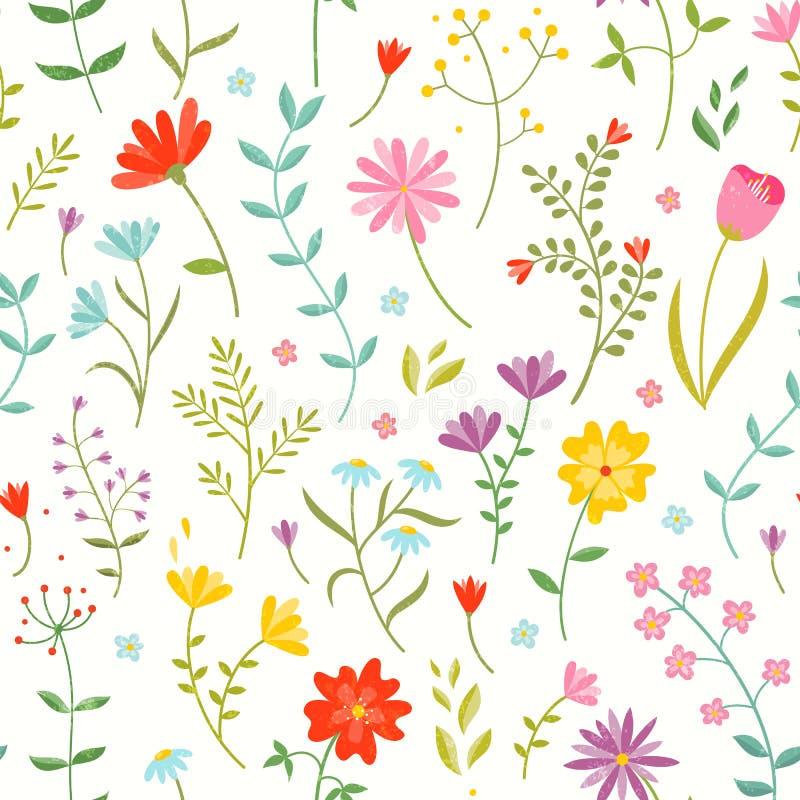 Gullig sömlös blom- modell med vårblommor vektor illustrationer