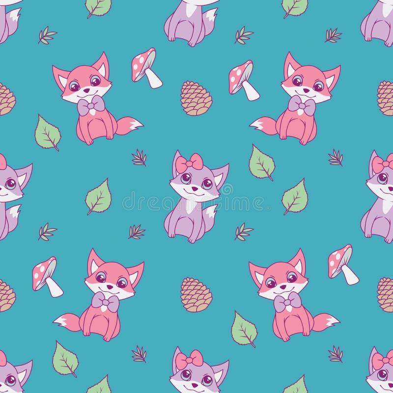 Gullig sömlös djur modell för barndesigner med pastellfärgade rosa och violetta rävar, sidor och champinjoner på ljus krickabackg stock illustrationer