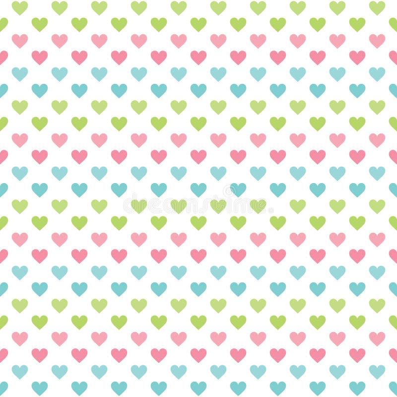 Gullig sömlös förälskelsebakgrund med pastellfärgade hjärtor vektor illustrationer