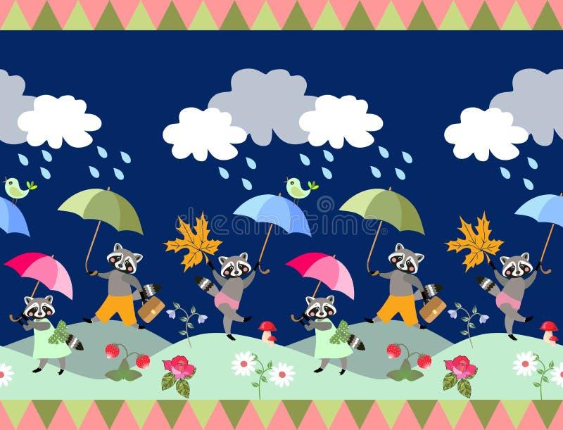 Gullig sömlös gräns med sagatvättbjörnar och paraplyer vektor illustrationer
