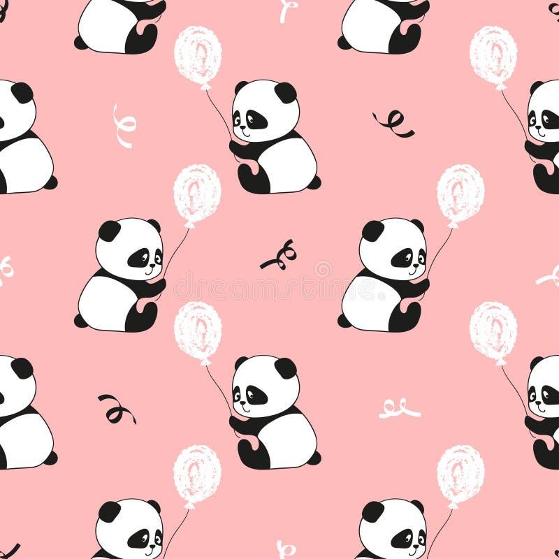 Gullig sömlös modell för för pandabjörnar och ballonger