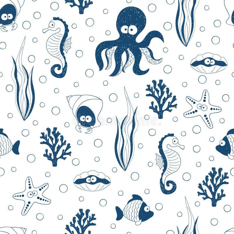 Gullig sömlös modell för havsdjur i blåa och vita färger Undervattens- bakgrund för vektor vektor illustrationer