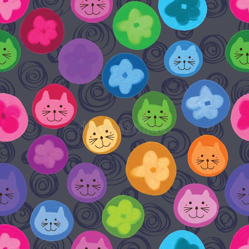 Gullig sömlös modell för kattblommacirkel stock illustrationer