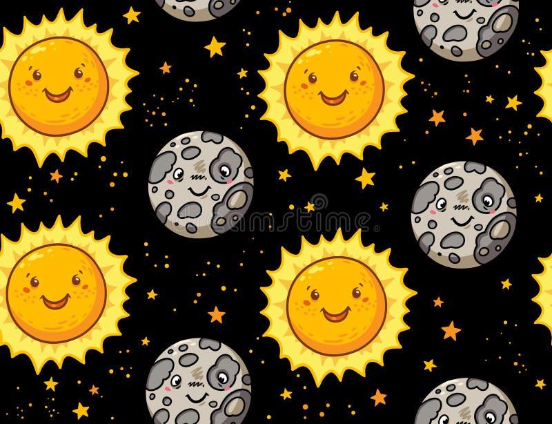 Gullig sömlös modell för sol- och månetecken vektor illustrationer
