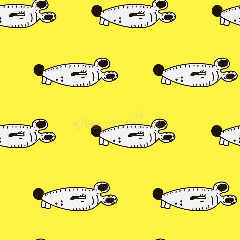 Gullig sömlös modell för för tecknad filmmus och ost på gul bakgrund royaltyfri illustrationer