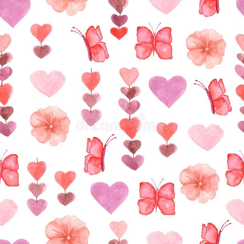 Gullig sömlös modell för vattenfärg med blommor, hjärtor och fjärilar i rosa, röda och violetta färger royaltyfri illustrationer