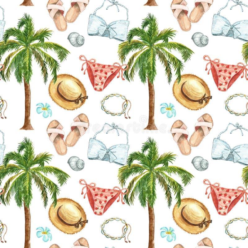 Gullig sömlös modell för vattenfärgsommar med strandbeståndsdelar Baddräkt sandaler, snäckskal, palmträd, sugrörhatt på vit vektor illustrationer