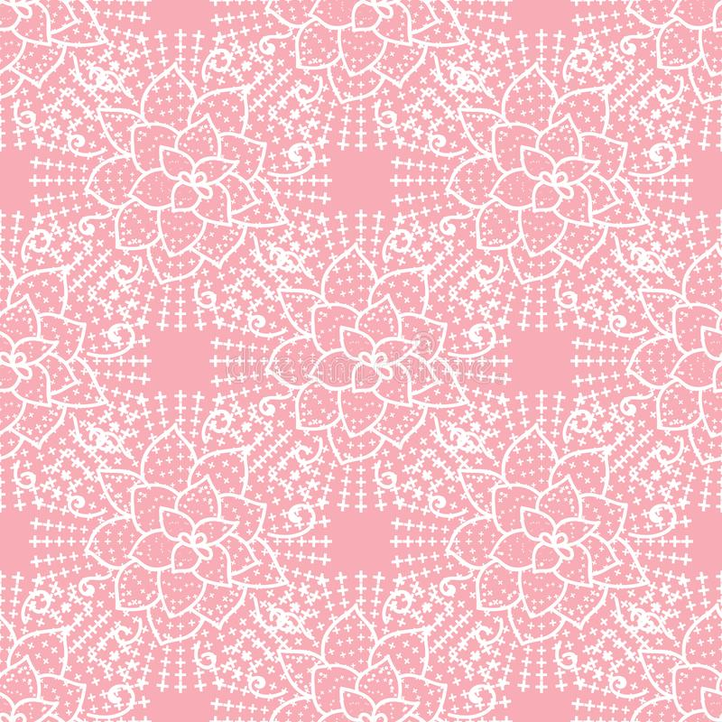 Gullig sömlös modell för vektor Handen som drar den vita blomman, snör åt på rosa bakgrund stock illustrationer